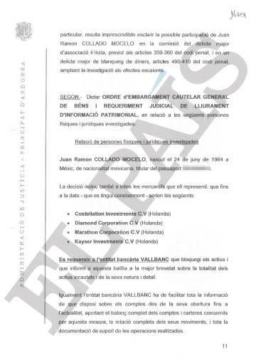 Auto dictado por la juez andorrana Maria Àngels Moreno Aguirre el pasado 1 de agosto sobre el abogado mexicano Juan Ramón Collado.