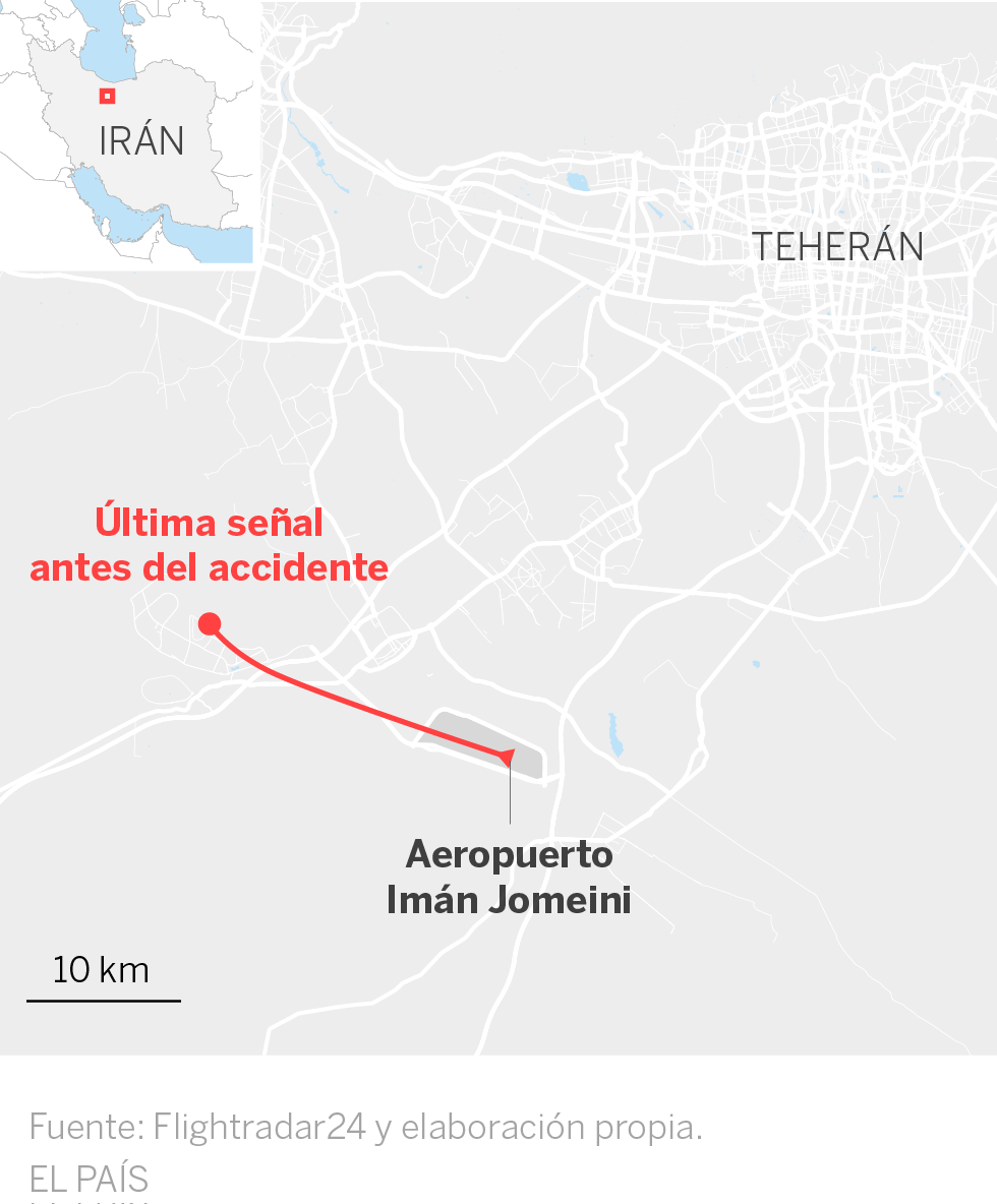 Mueren los 176 pasajeros de un avión de Ucrania que se estrella en Irán